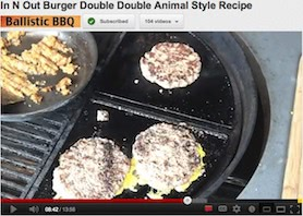 In N Out Burger Double Double Animal Style on Cast Iron Grates Youtube Grill video